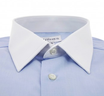 Slim Fit Light Blue End-On-End White French Collar Double Cuff