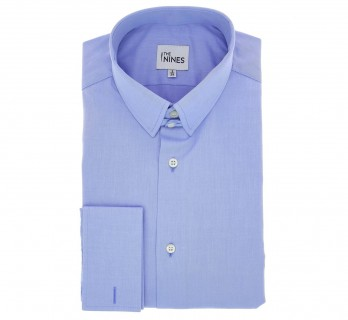 Regular Fit Blue Poplin Tab Collar Double Cuff Shirt