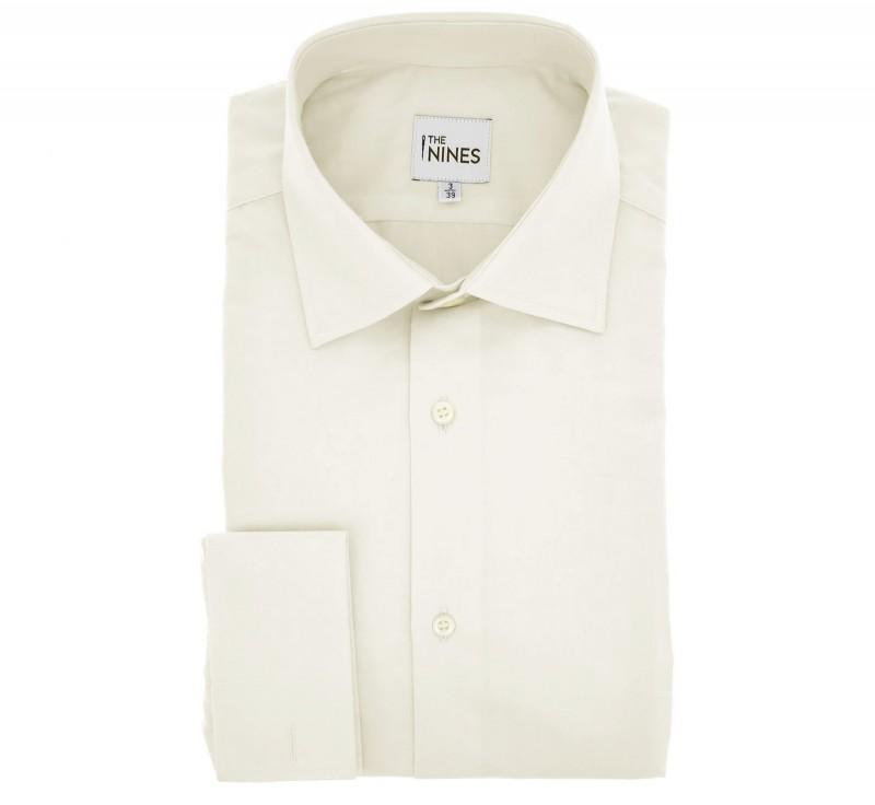 Regular Fit Ivory Poplin Classic Collar Double Cuff Shirt