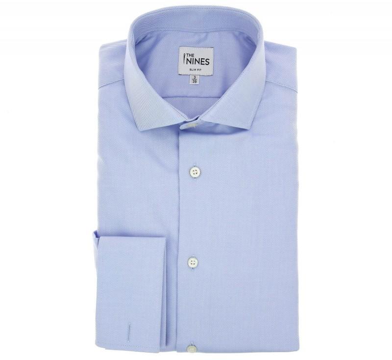 Slim Fit Blue Twill Cutaway Double Cuff Shirt