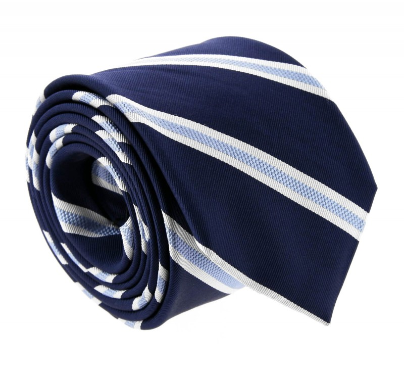 Navyblue with Lightblue and White Stripes The Nines Tie - Boston II