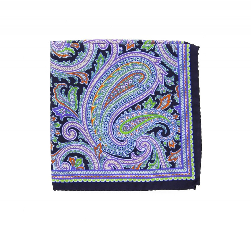 Navyblue Pocket Square With Paisley Design and Applegreen ...