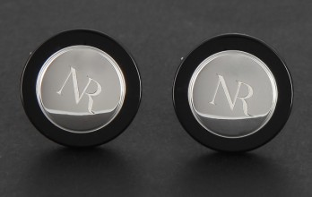Nina Ricci cufflinks - Silver round black outline