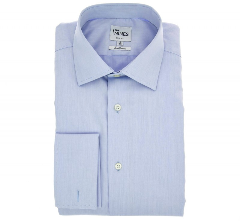 Slim Fit Light Blue Classic Collar Double Cuff Shirt