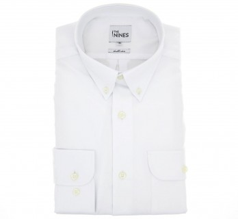 Regular Fit White Two Fold Oxford Button Down Collar Button Cuff Shirt with Pocket