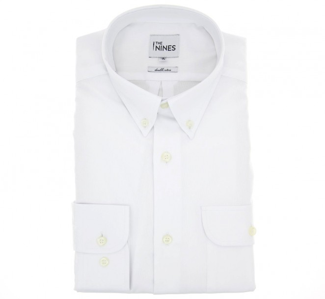 Regular fit white two fold oxford button down collar for White button down collar oxford shirt