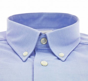 Regular Fit Blue Oxford Button-Down Collar Shirt with Pocket