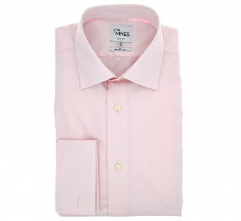 Slim Fit Pink Poplin Classic Collar Double Cuff Shirt