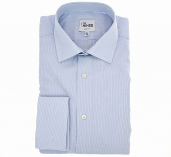 Slim Fit Light Blue Poplin with Small Check Classic Collar Double Cuff Shirt