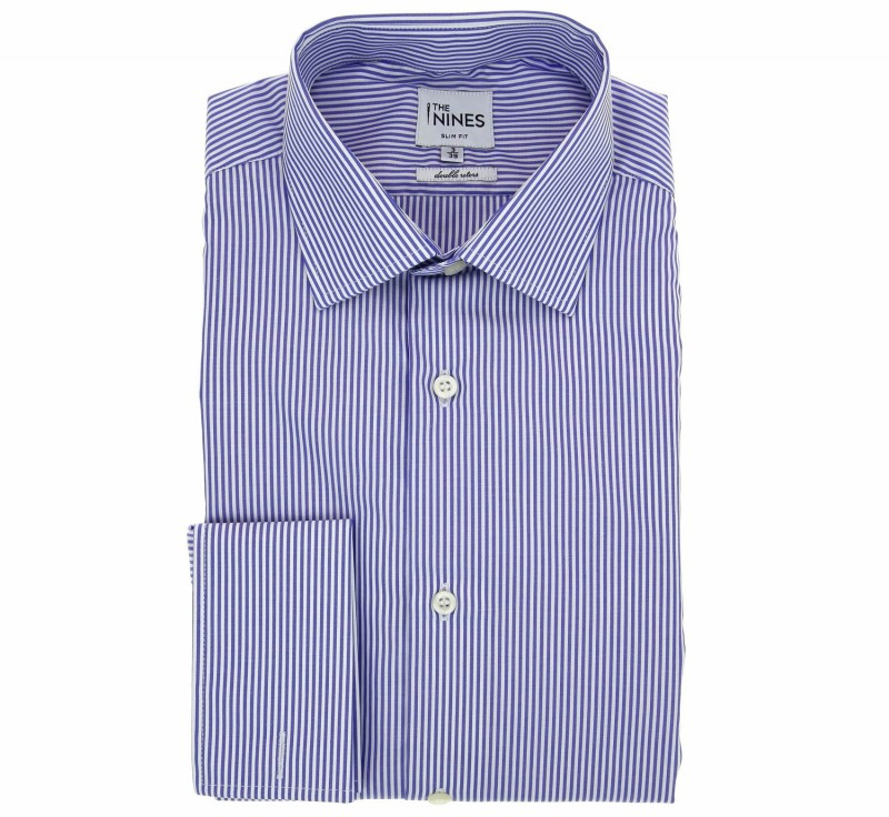 Slim Fit White and Blue Stripes Classic Collar Double Cuff Shirt
