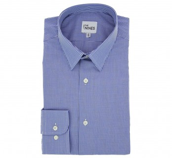 Regular Fit Blue Check French Collar Button Cuff Shirt