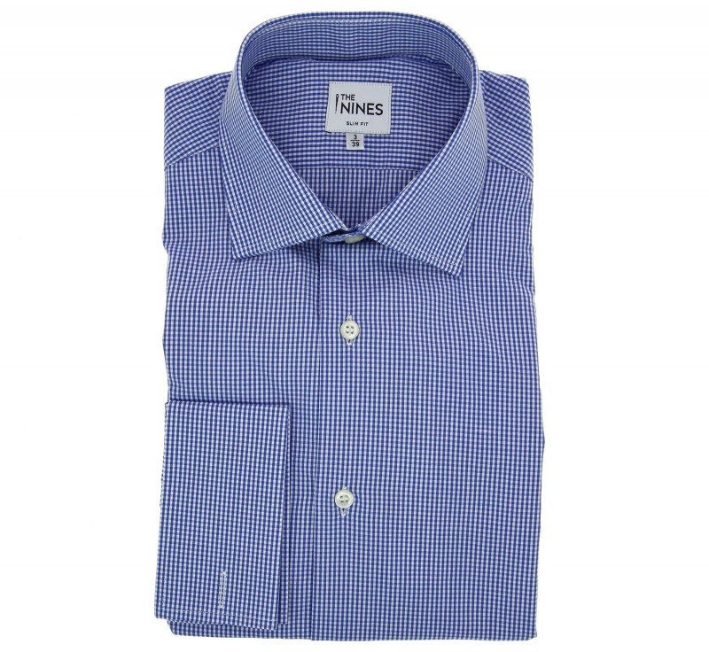 Slim Fit Blue Gingham Classic Collar Double Cuff Shirt
