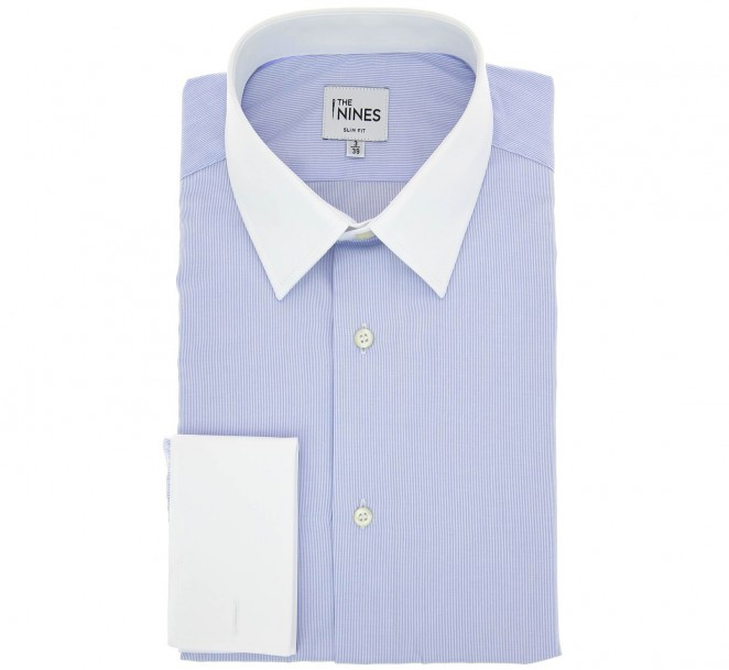 Slim fit light blue white pinstripe french collar double for Pin collar shirt double cuff