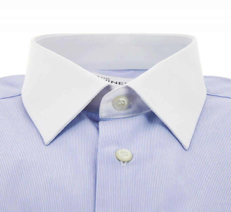 Slim fit light blue white pinstripe french collar double White french cuff shirt slim fit