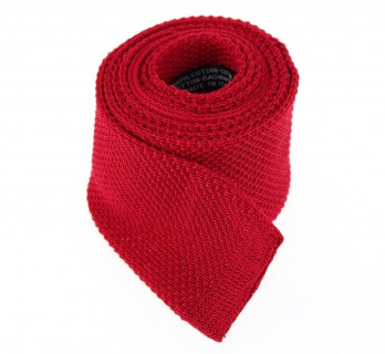 Red Knitted Cotton Tie - Novare